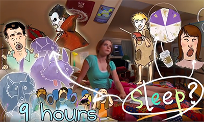 Teenage girl sitting in bed surrounded by animated examples showing the benefits of 9 hours of sleep and the possible consequences of lack of sleep.