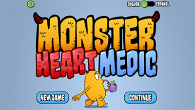 Still shot of the app's user screen, which reads Monster Heart Medic and shows a yellow monster drinking from a soda can, along with options to play a new game or to continue an ongoing game.