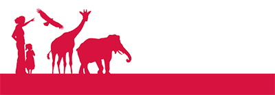 Red banner with silhouettes of a woman, young girl, eagle, giraffe, and elephant.