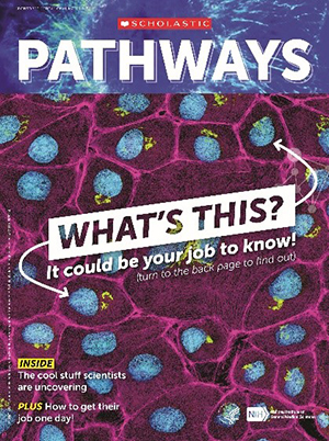 Cover of Pathways student magazine, with featured question,