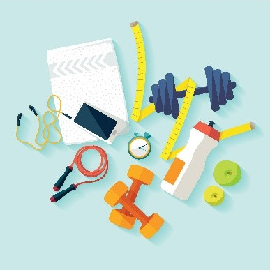 An illustration of dumbbells, a jump rope, a stopwatch, a measuring tape, a phone with earbuds, a water bottle, and two apples.