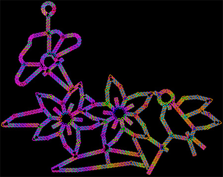 Computer-generated sketch of a DNA origami folded into a flower-and-bird structure.