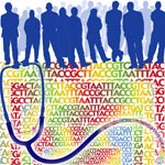 Silhouettes of people with nucleic acid sequences and a stethoscope.