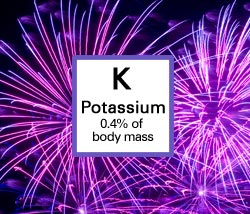 Potassium. 0.4% of body mass.