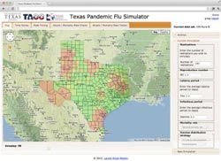Screen shot of the Texas Pandemic Flu Simulator site