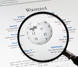 Screen shot of the Wikipedia site. Credit: Stock image